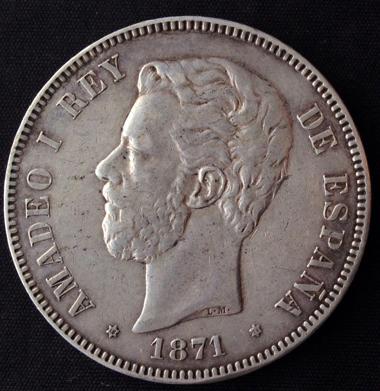 5 pesetas 1871 (*18-74) Amadeo I  Image