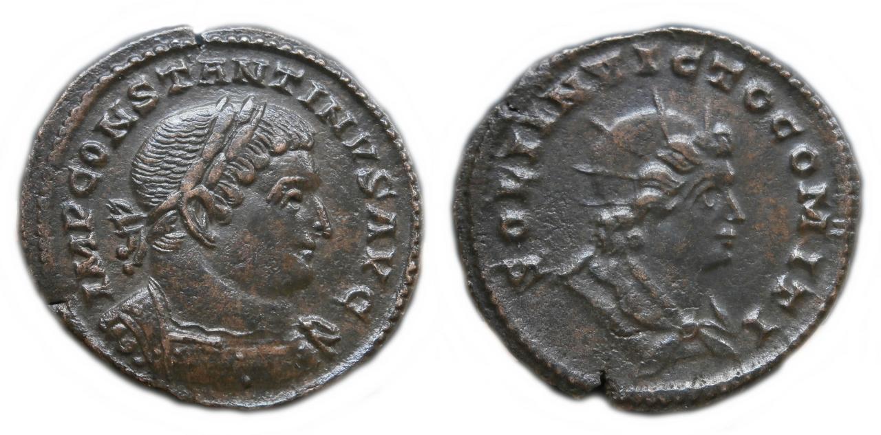 Nummus de Constantino I. SOLI INVICTO COMITI. Busto del Sol a dcha. Trier. Sol_invicto