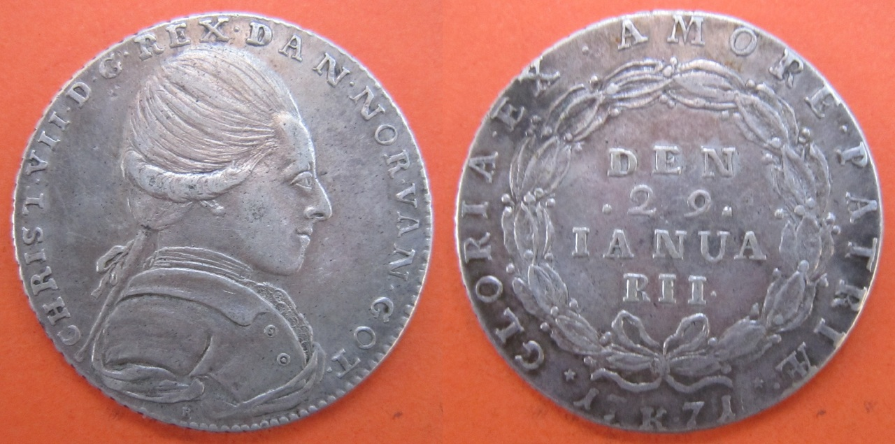 1/2 Krone 1771. Dinamarca. Christianus VII Media_corona_Dinamarca_1771