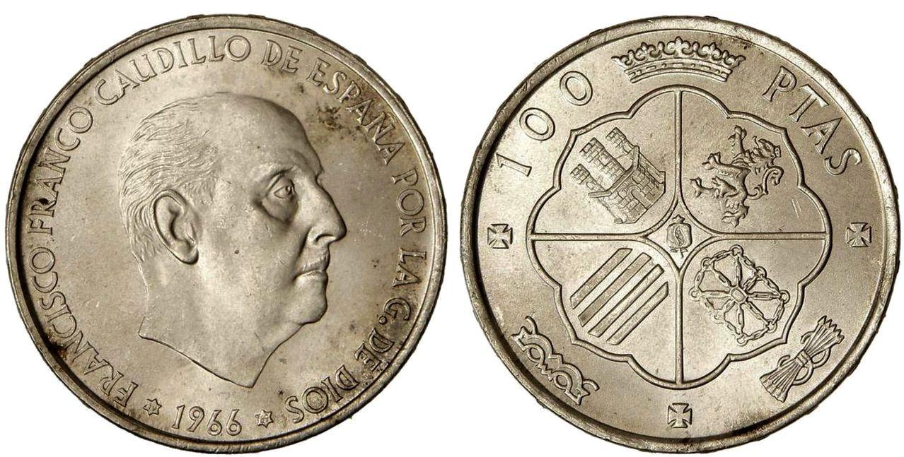 100 Pesetas 1966*69 Palo Curvo Image