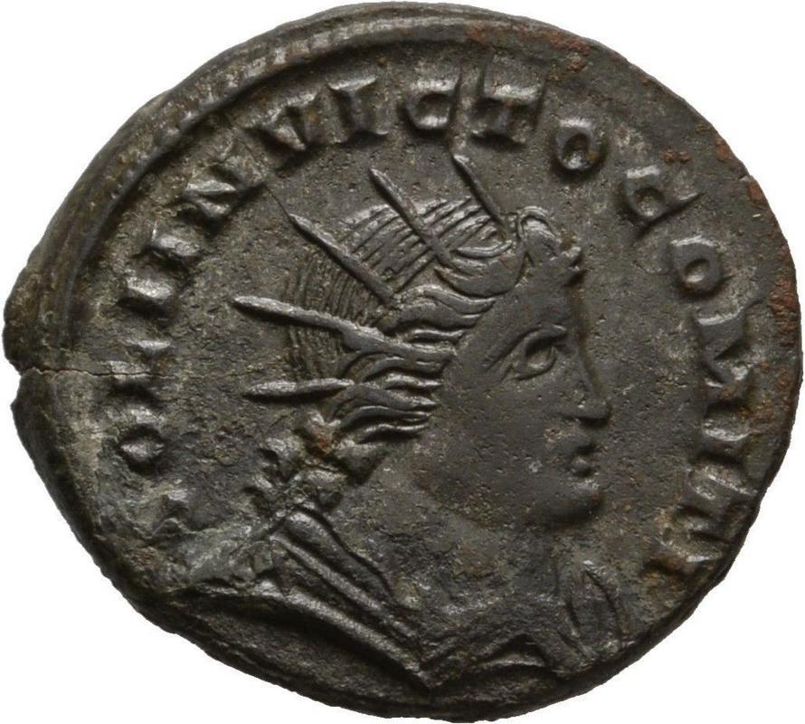 Nummus de Constantino I. SOLI INVICTO COMITI. Busto del Sol a dcha. Trier. 222
