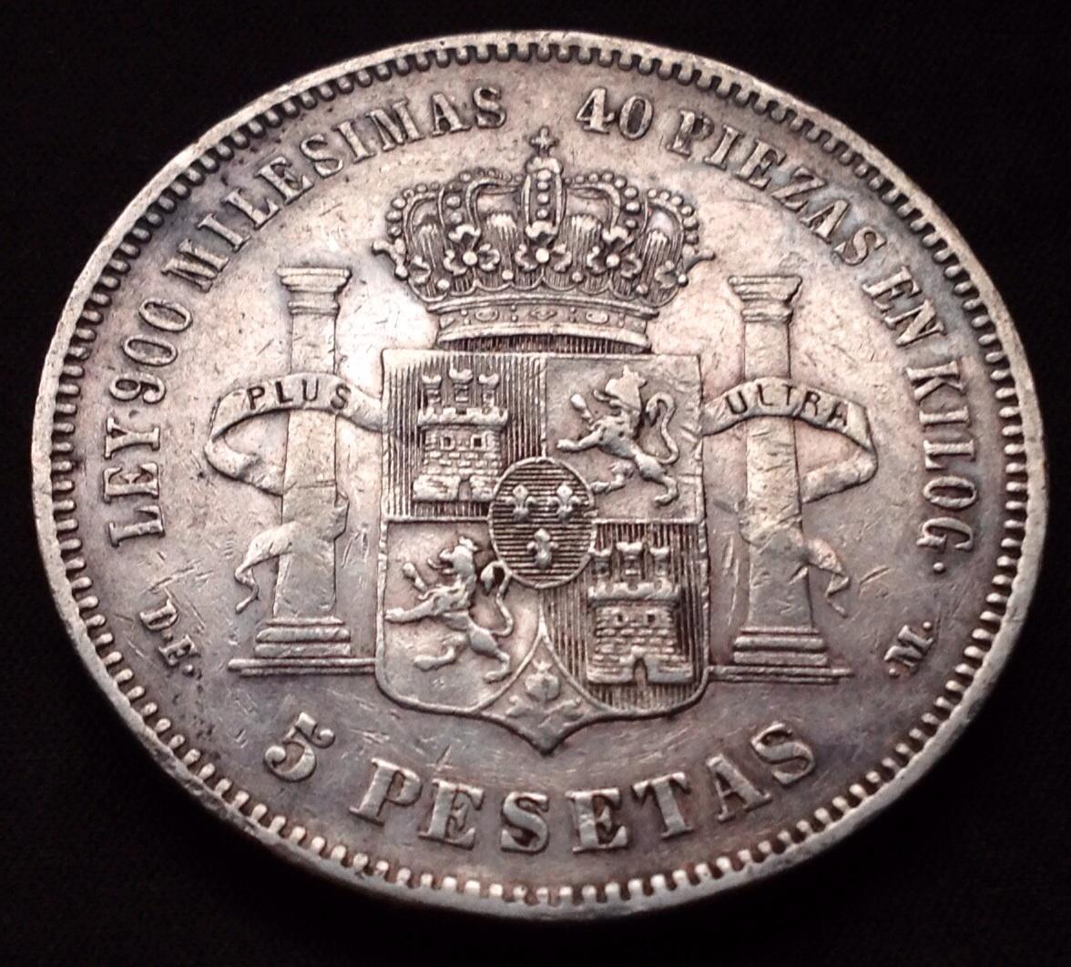 5 pesetas 1876 Alfonso XII Image