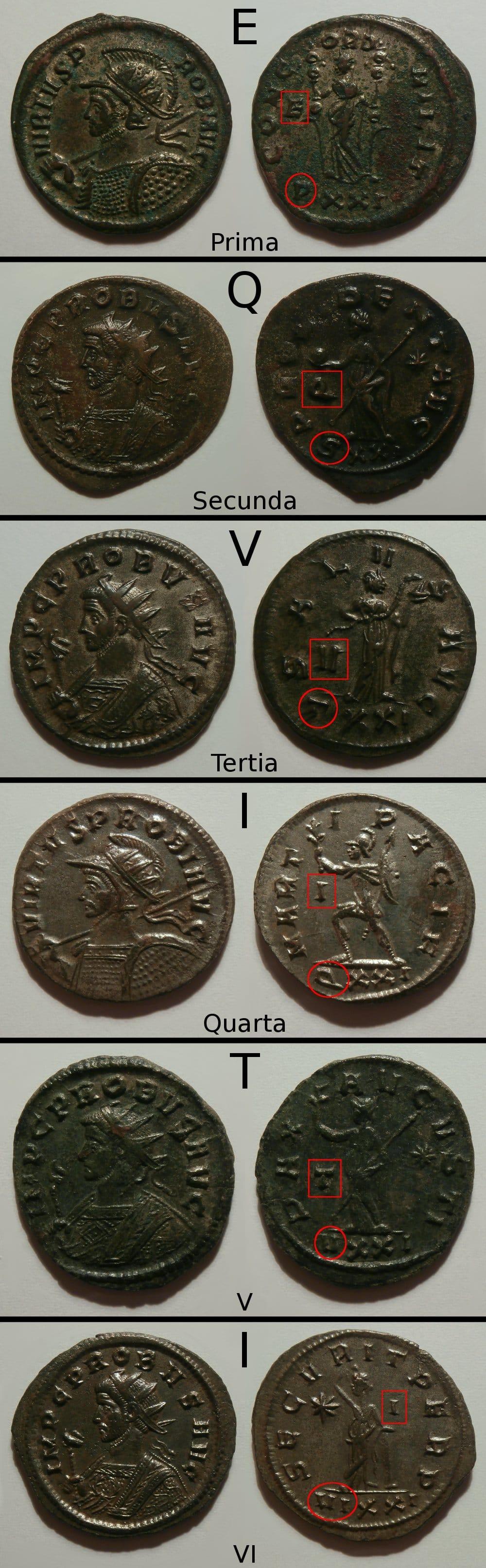 Antoninianos de Probo de la ceca Ticinum (serie EQVITI) EQVITI