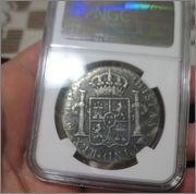 """8 reales 1780. Carlos III. Méjico. Pecio Buque """"El Cazador"""". Certificado NGC. 57_8"""