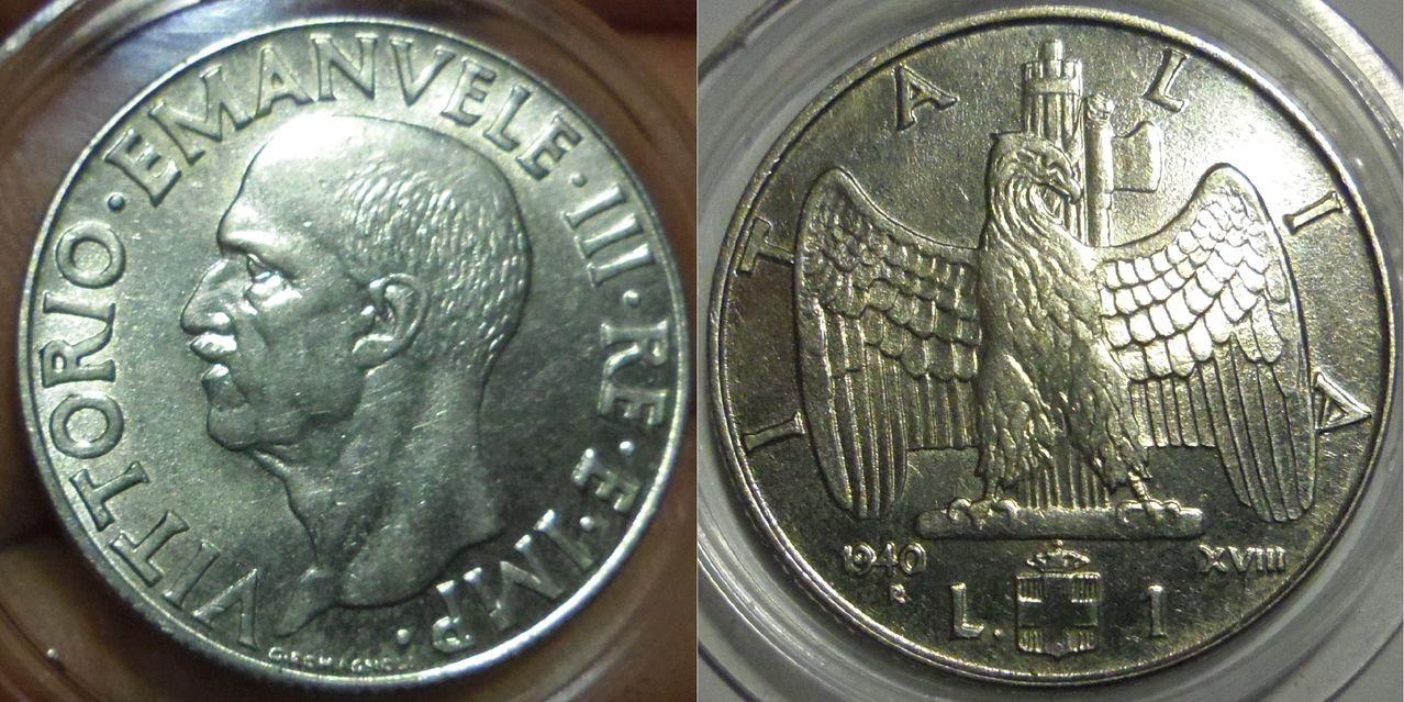 1 Lira. Víctor Manuel III. 1940. Roma. Italia. IMGP3983
