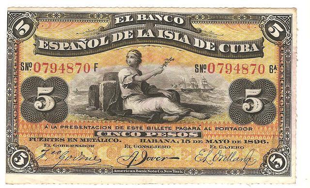 Banco de España en la isla de Cuba 5 pesos de plata Image