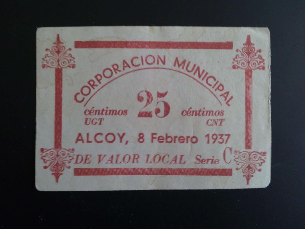 1ª emision 25 centimos de Alcoy, 8 Febrero 1937 14012013980
