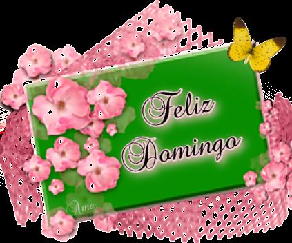 Flores Rosas sobre Tarjeta en Verde  DOMINGO