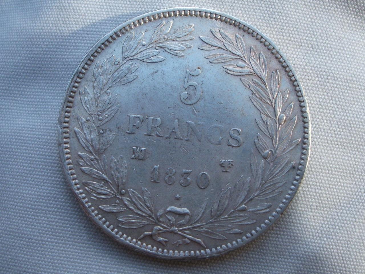 5 Francos de 1830 (Marsella). Luis Felipe I. Francia. Siii