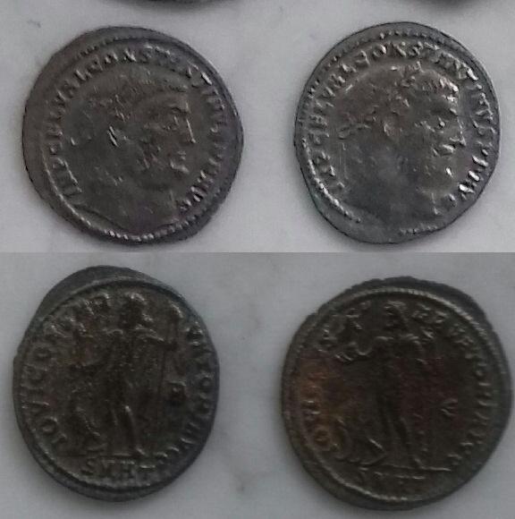 2 Nummi a nombre de Constantino I acuñados por Licinio I Image