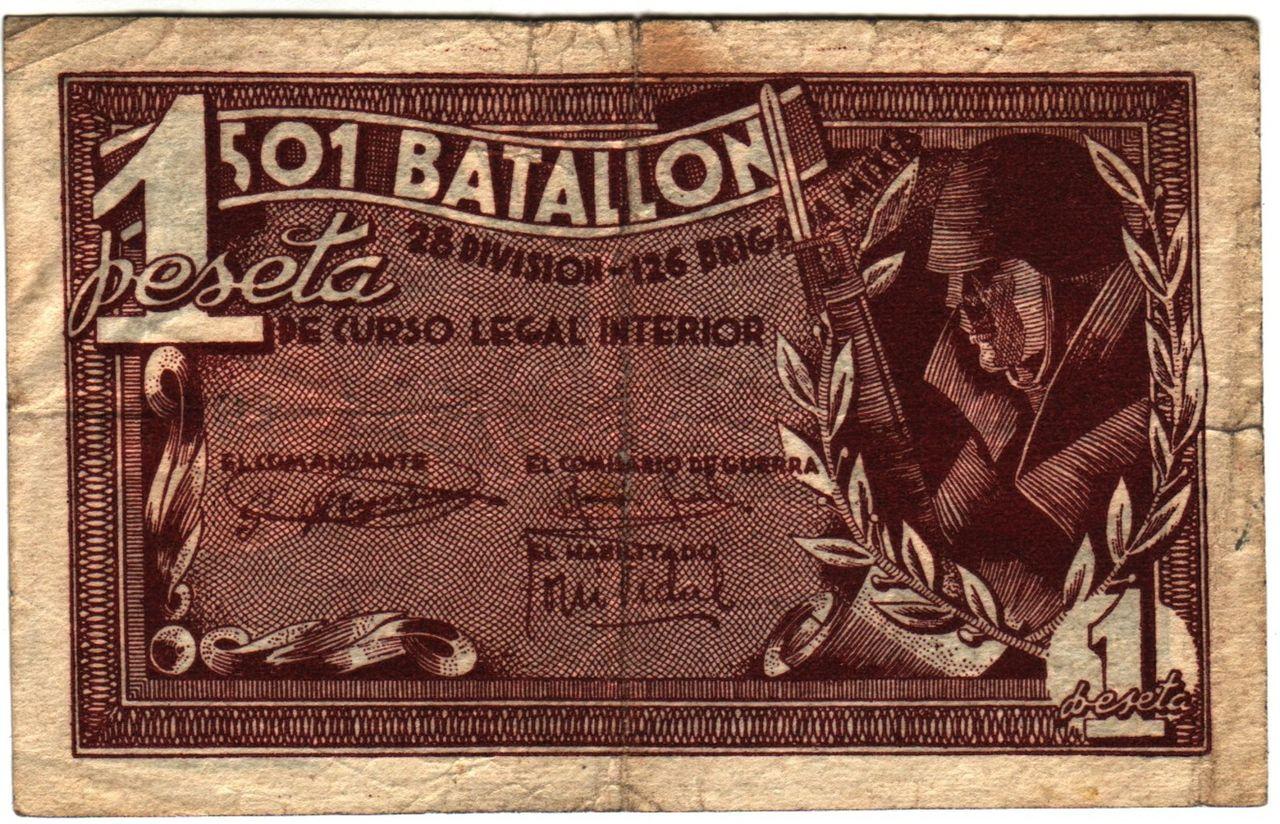 1 Peseta Batallon 501 - 28 Division  501a