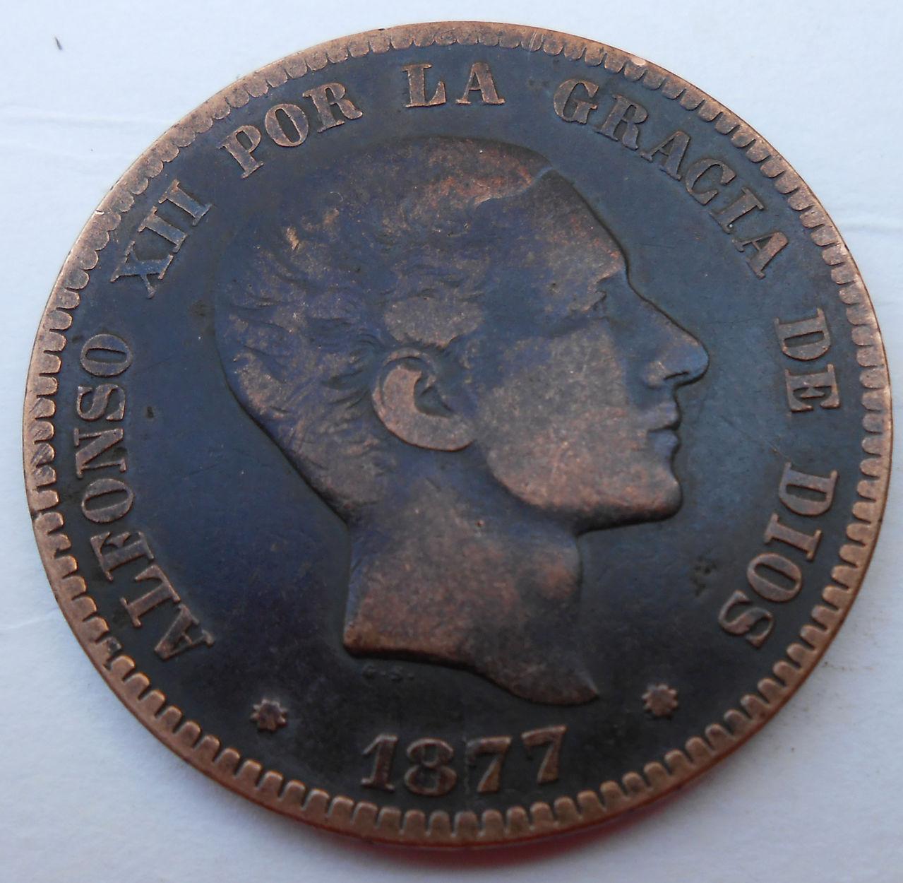 10 céntimos 1877.  Alfonso XII.  DSCN0541