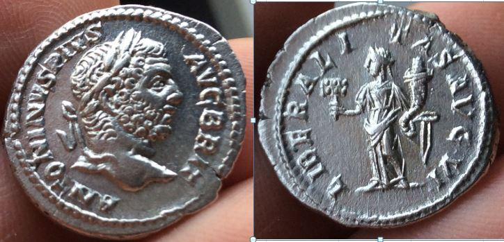Denario de Caracalla. LIBERALITAS AVG VI. Liberalitas estante a izq. Roma. Caracalla