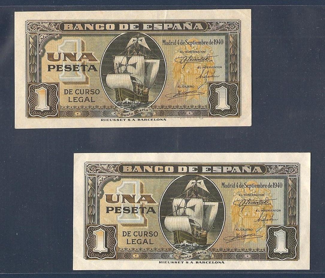 1 Peseta 1940 (Pareja Correlativa - Barquito) Imagen_20