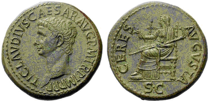 Dupondio de Claudio I. CERES AVGVSTA en el exergo S.C. Ceres sedente a izq. Roma. Image