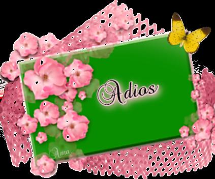 Flores Rosas sobre Tarjeta en Verde  ADIOS