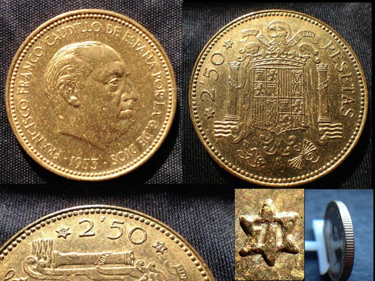 2,50 pesetas 1953-*71- Estado Español Image