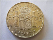Alfonso XIII 5 Pesetas 1891 (18*91*) PG-M 3_1