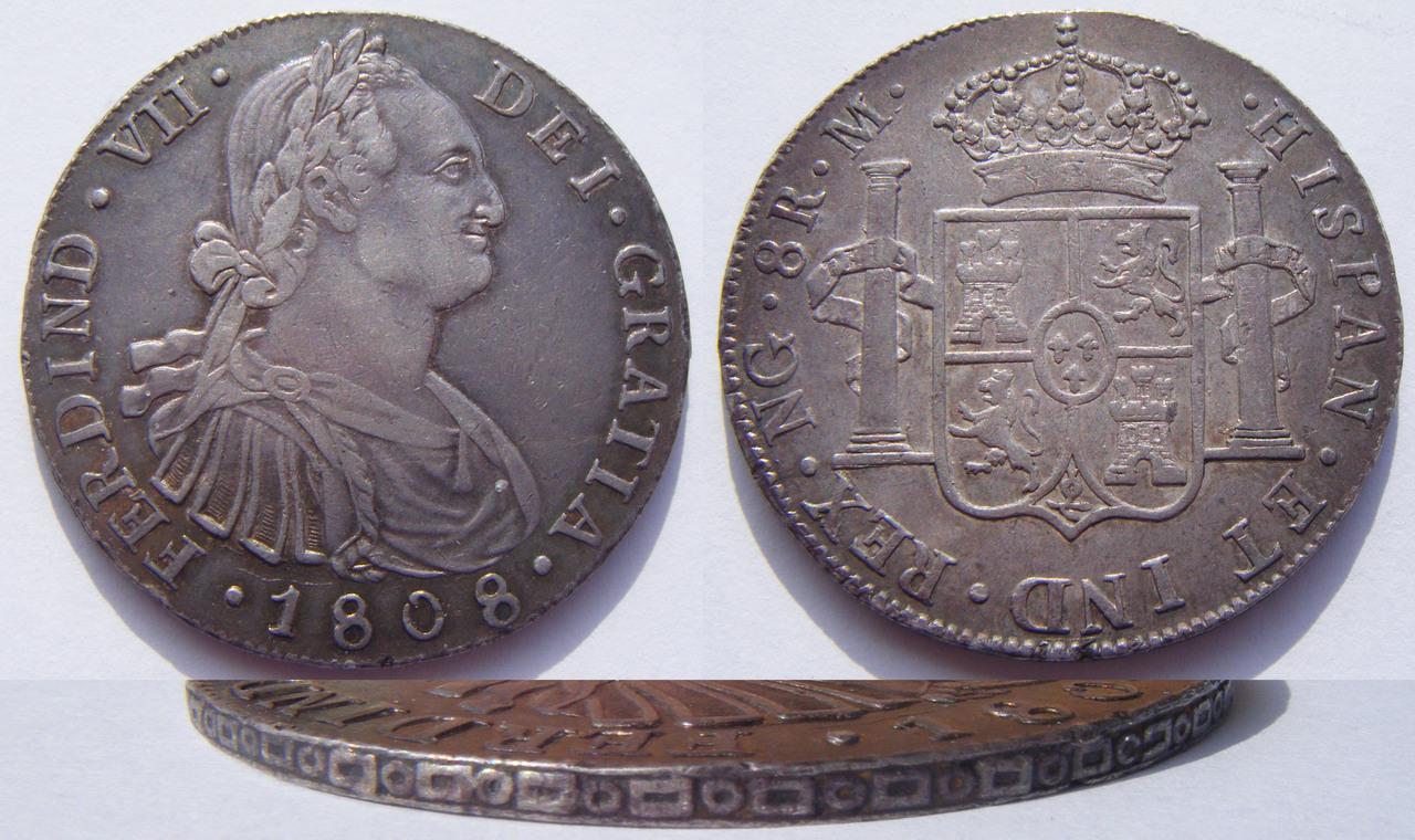 8 Reales 1808. Fernando VII. Guatemala M 8_R_Fernando_VII_1808_Guatemala_M