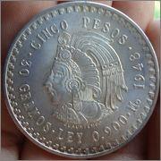 5 Pesos 1948 MEXICO Mo ( dedit a Estrella 76 ) Image