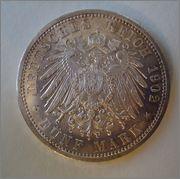 5 Marcos 1902 Friedrich I ,Imperio Aleman Baden  Image