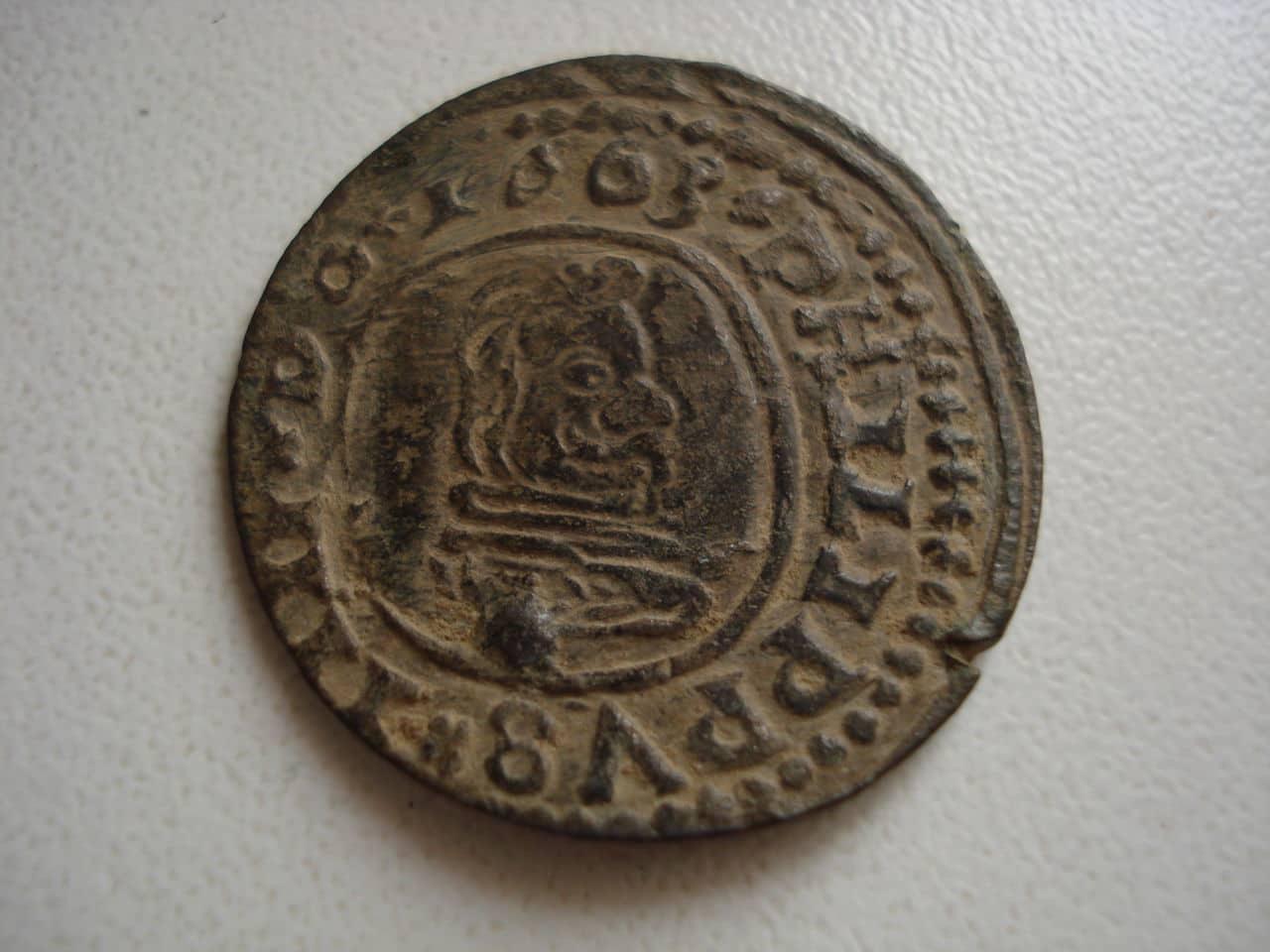 16 maravedís de Felipe IV, Trujillo,1663 Monedas_021