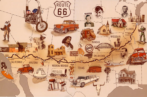 ROUTE  66 -  USA Route-66-map-letterbox1