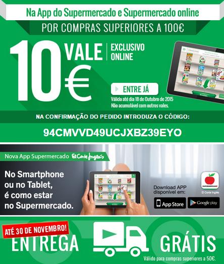Promo - 10 Euros Grátis para Compras no Supermercado El Corte Inglés APP