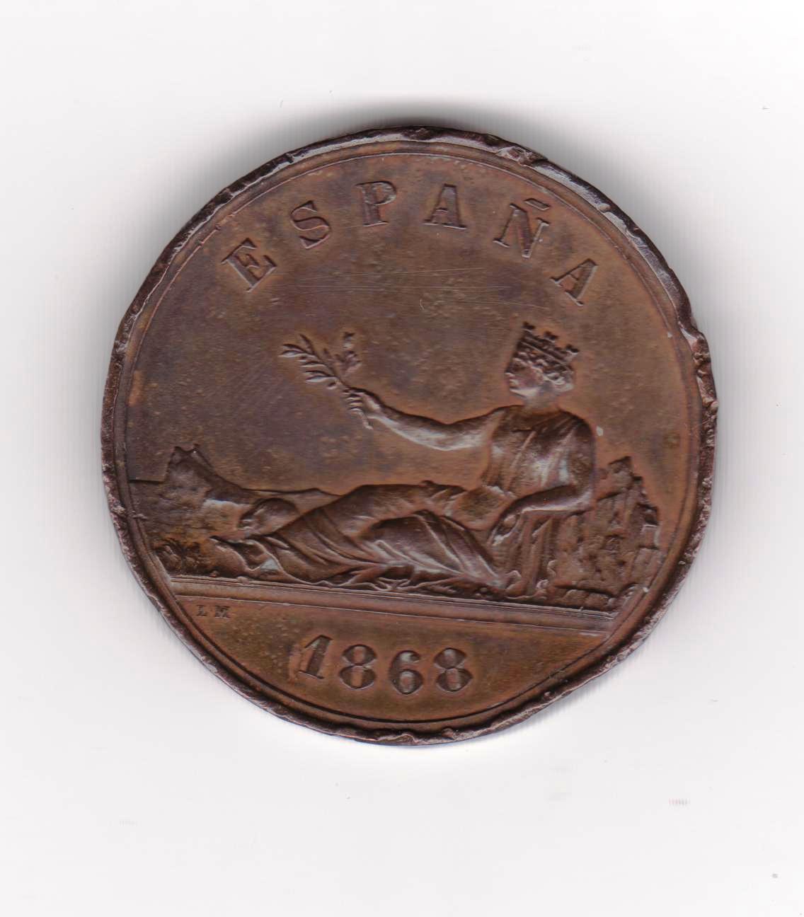Prueba en cobre 1868, moneda de 5 pesstas 1869 Medalla_1868