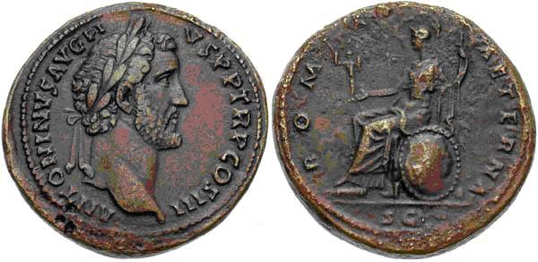 Sestercio de Marco Aurelio o Antonino Pío. Reverso tipo Roma sedente en escudo a izq. Image