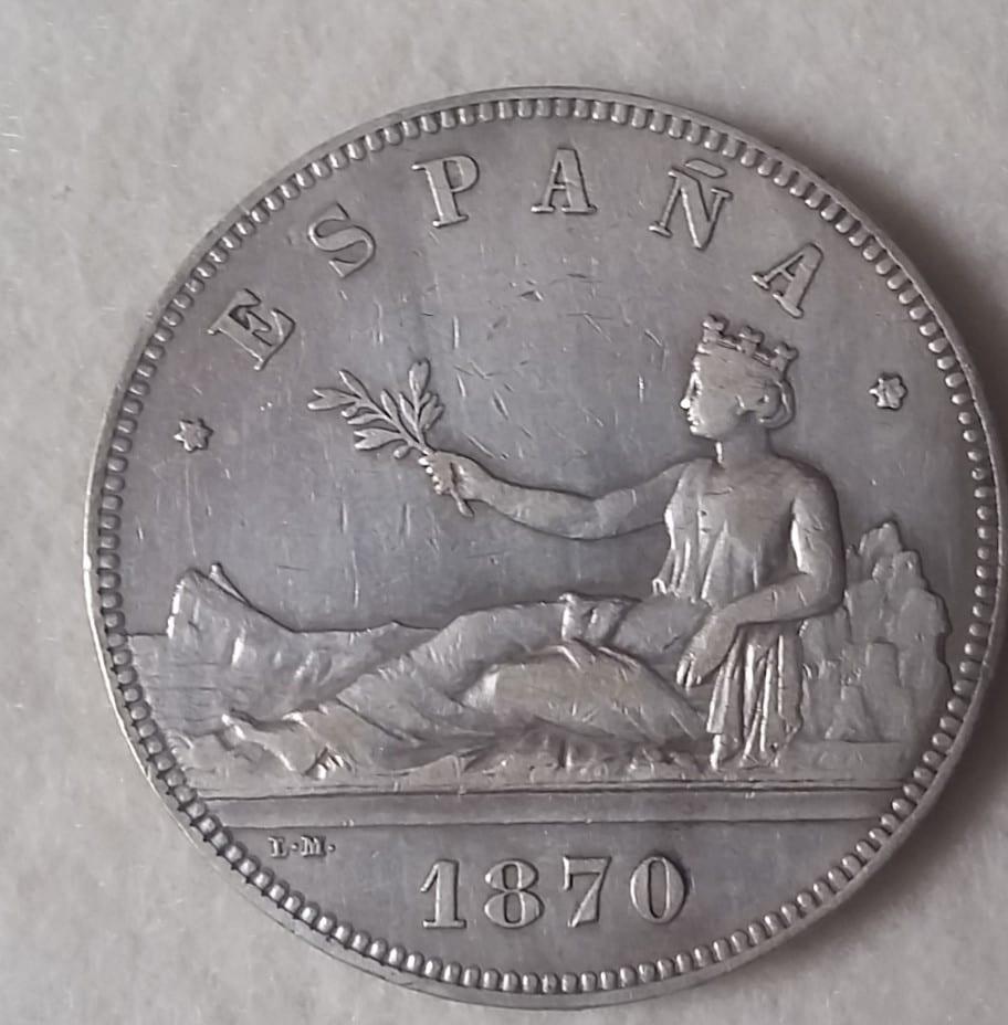 GOBIERNO PROVISIONAL. 5 pesetas. 1870*18-70. SMV 20160402_175324