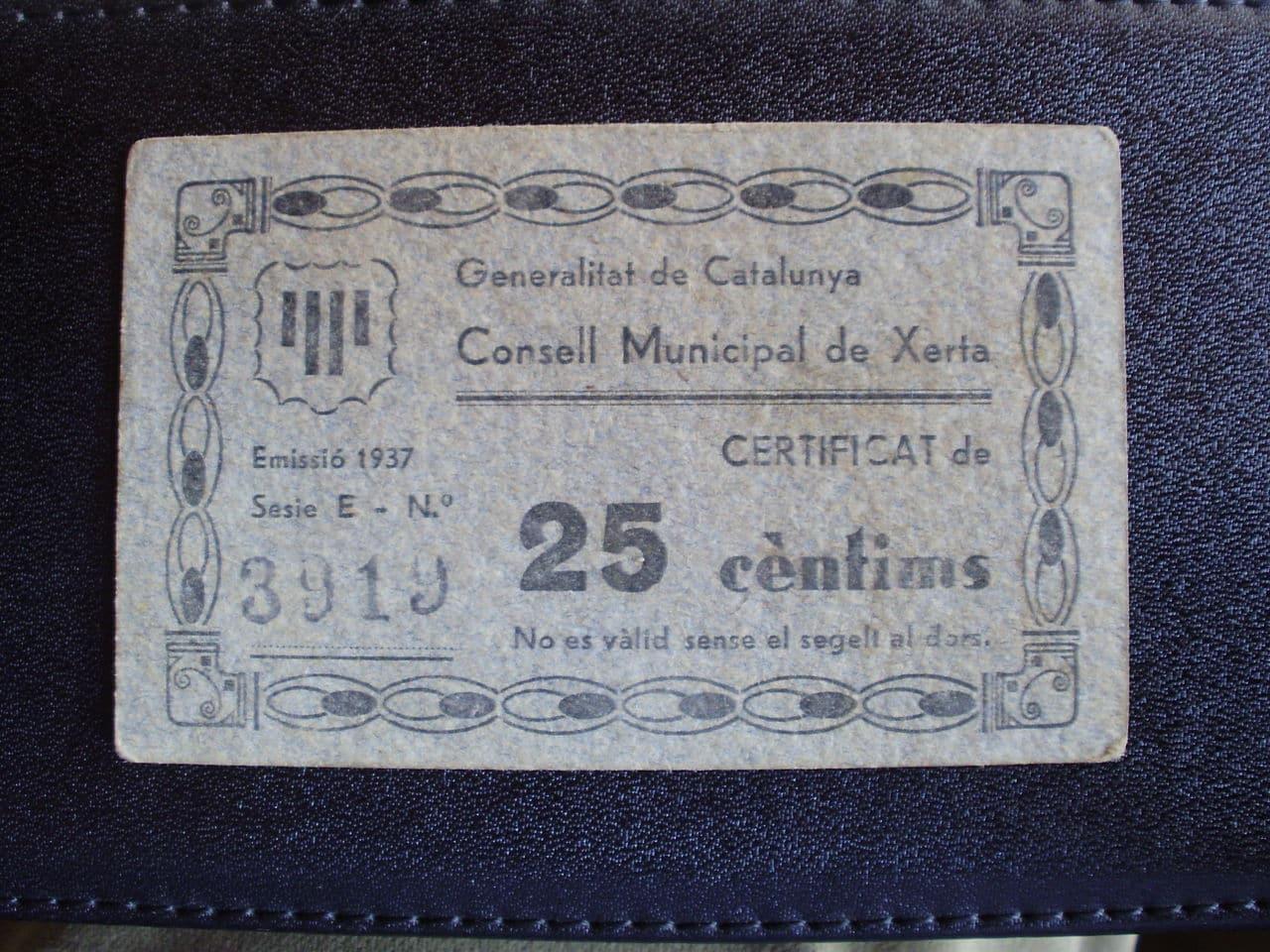 25 Céntimos Xerta, 1937 (T-2921) P7240449