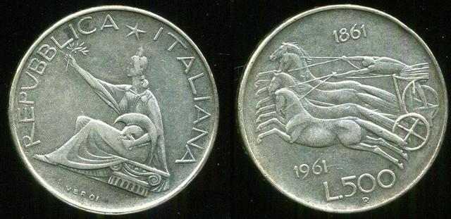 500 liras Italia 1961. 100 Años de la Unificación de Italia 500_liras_1961