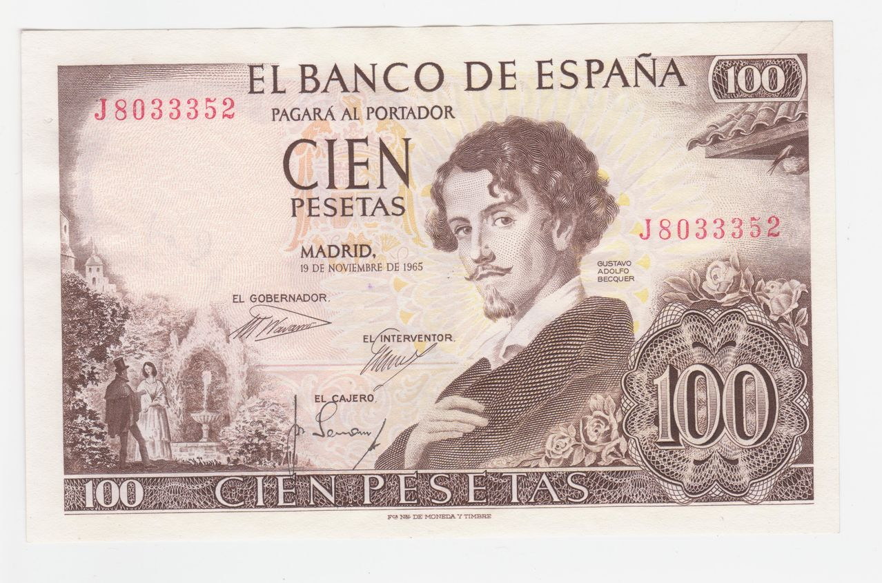 100 Pesetas 1965 (Firma cajero anverso y reverso) 100_pesetas_1965_firma_cajero_reverso