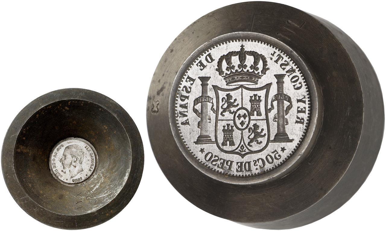 Cuño auténtico para 50 centavos de Peso. 1880. Filipinas. Stempels_50_Cs_de_Peso