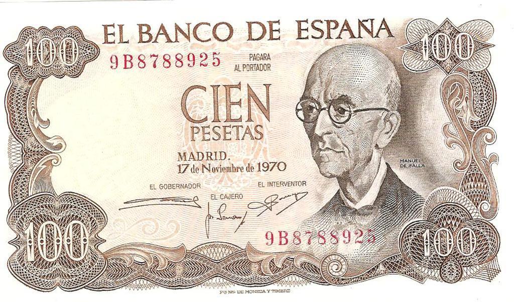 100 Pesetas 1970 (Serie Sustitución 9B - Manuel de Falla) Image