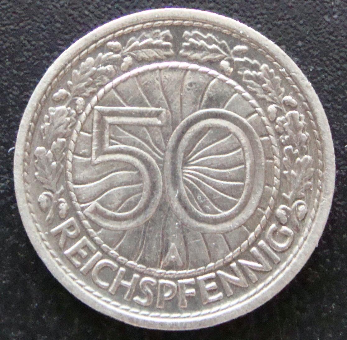 50 Reichspfennig. Alemania (1928) ALE_50_Reichspfennig_1928_rev