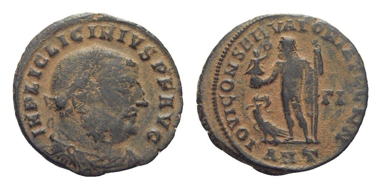Nummus de Licinio I. IOVI CONSERVATORI AVGG NN. Júpiter a izq. y águila. Antioquía Licinio_i_ant