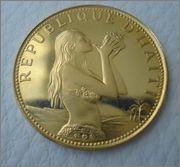 500 Gourdes 1973 Proof ,HAITI (mujer tocando caracola) Image