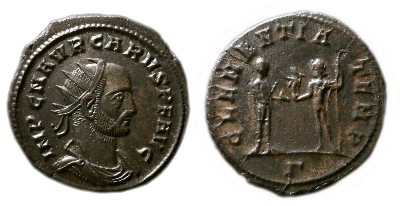 Aureliano de Caro. CLEMENTIA TEMP. Emperador y Júpiter. Cycico. Carus
