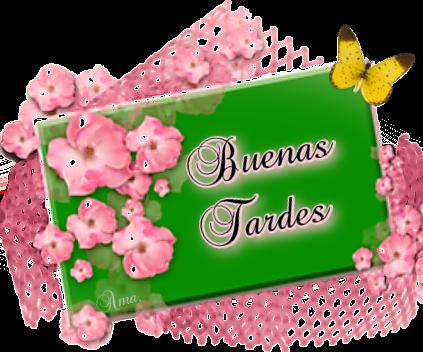 Flores Rosas sobre Tarjeta en Verde  TARDES