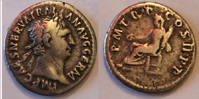 Denario de Trajano PM TR P COS II PP. Vesta. Ceca Roma. Trajano