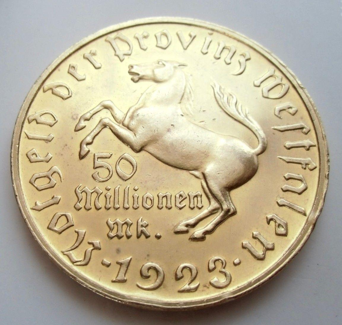 Monedas de emergencia emitidas por el banco regional de Westphalia 1923_50mb