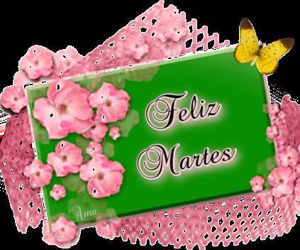 Flores Rosas sobre Tarjeta en Verde  Martes