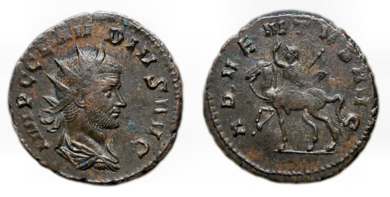 Antoniniano de Claudio II. ADVENTVS AVG. Emperador a caballo a izq. Roma Claudi_II