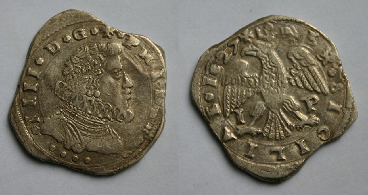 4 taris 1627. Felipe IV. Messina (Sicilia). 4_Tari_1627