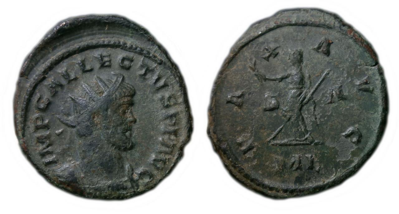 Aureliano de Allecto. PAX AVG. Pax estante a izq. Londinium. Allectvs