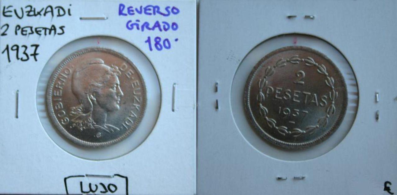 2 Ptas 1937 (reverso girado 180°). Gobierno de Euzkadi. Guerra Civil Española. 2_Pesetas_Euzkadi_Reverso_Girado_180_2