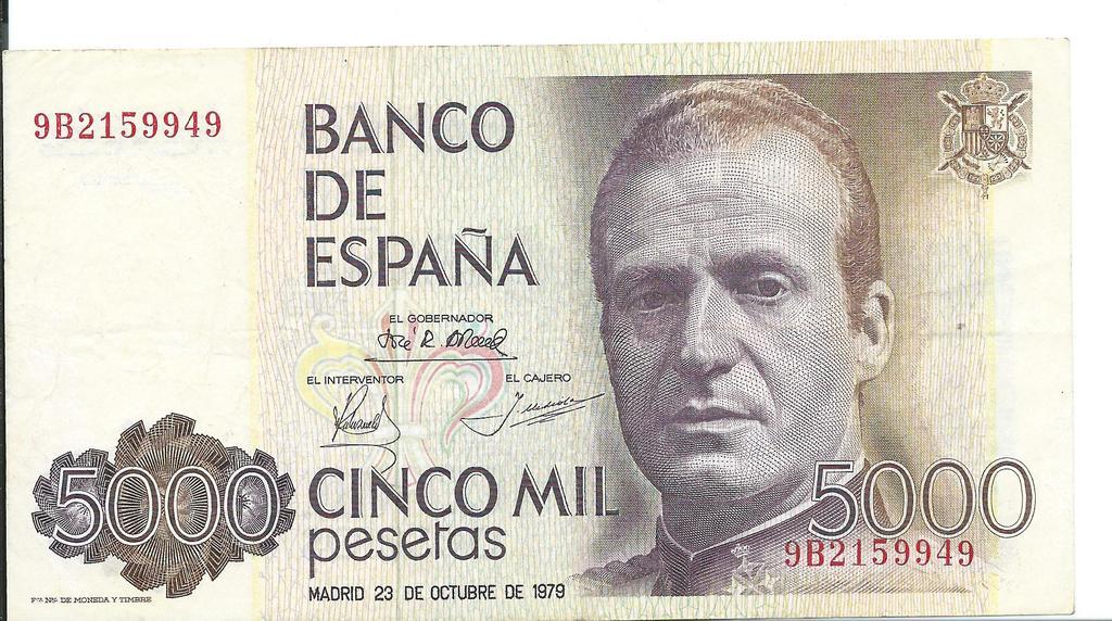 5000 pesetas Juan carlos I Image