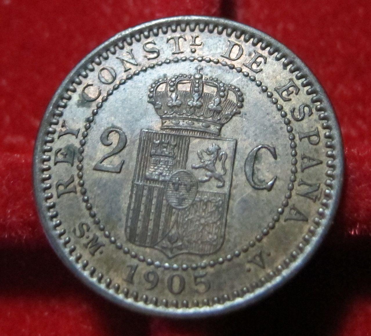 2 Céntimos 1905 SMV. Alfonso XIII. Madrid. Anv